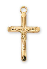 Gold over Sterling Crucifix Pendant - Gold Over Sterling Silver Crucifix with 18 in. Gold Plated Brass Chain and Deluxe Gift Box