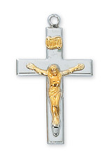 McVan Sterling Silver Two Tone Crucifix Pendant - Sterling Silver Crucifix with 18 in. Rhodium Plated Brass Chain and Deluxe Gift Box