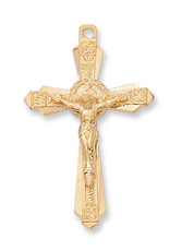 Gold Over Sterling Silver Crucifix with 24 in. Gold Plated Brass Chain and Deluxe Gift Box