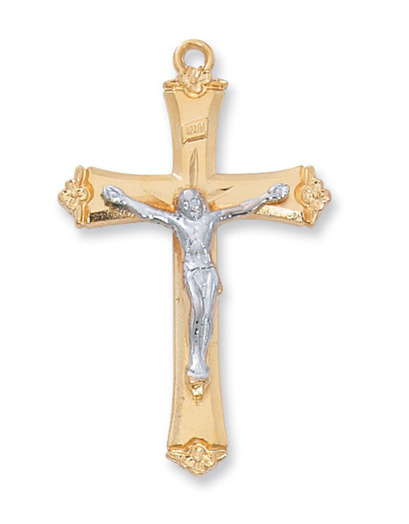 McVan Gold Over Sterling Silver Crucifix with 18 in. Gold Plated Brass Chain and Deluxe Gift Box