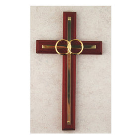 McVan 6 1/2in. Walnut with Overlay Wedding Cross Boxed - 6 1/2in. stained walnut wood with white silk screen on brass overlay with plated rings. Comes boxed.