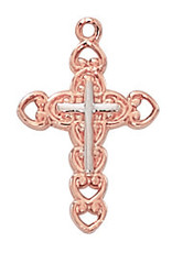 "McVan 2-Tone Rose Gold Cross 18"" Chain"