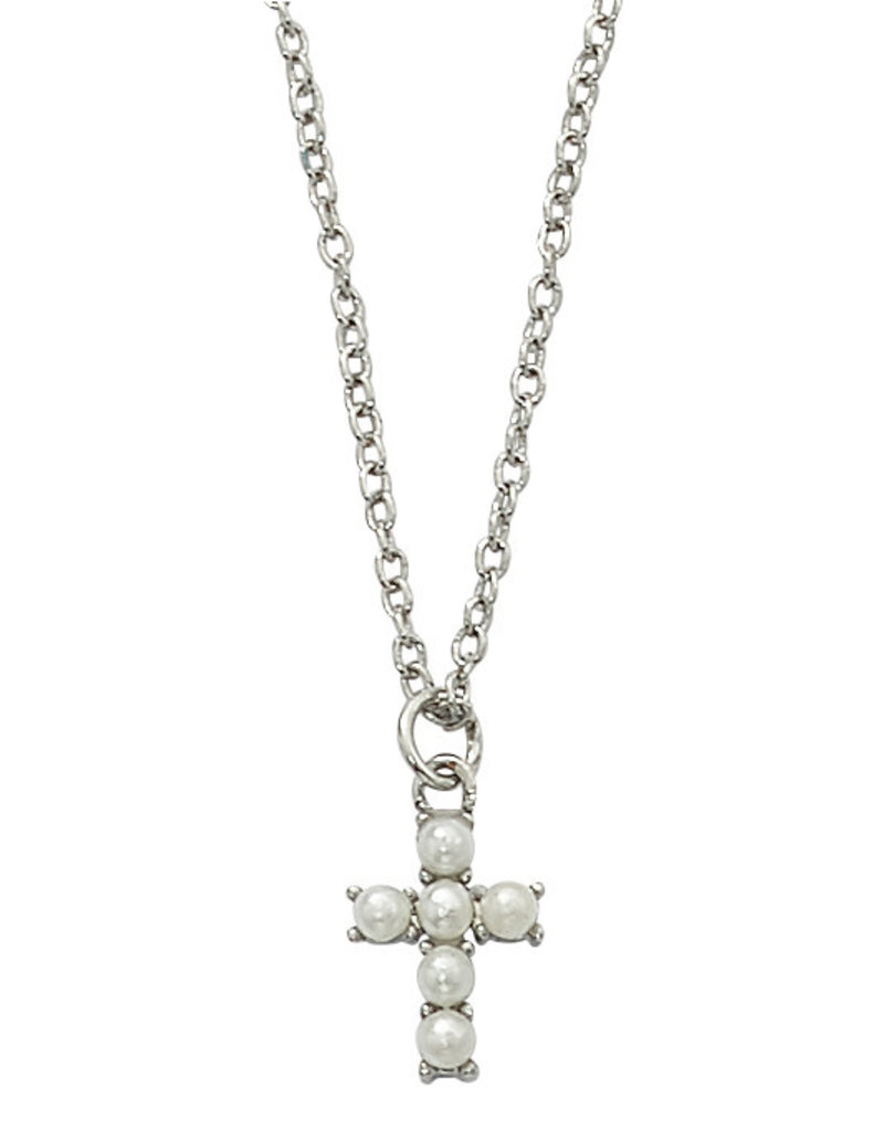 """McVan Pearl Cross Necklace with 16"""" Chain"""