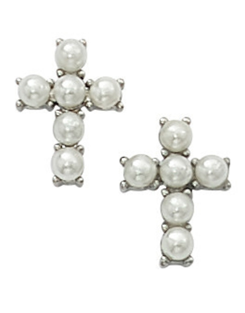 McVan Pearl Cross Earrings