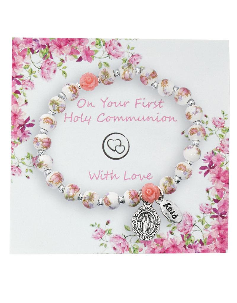 McVan First Communion Ceramic Flower Stretch Bracelet