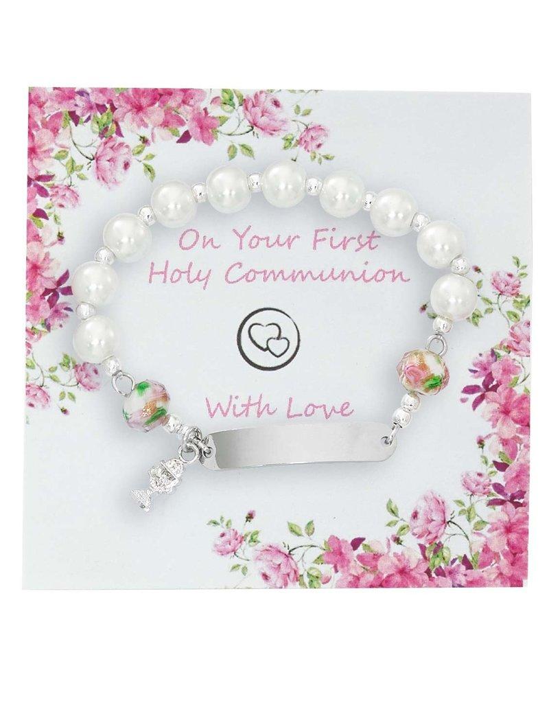 McVan First Communion White Pearl Nametag Bracelet