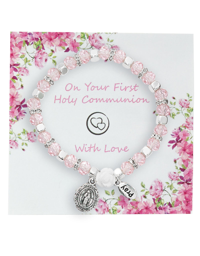 McVan First Communion Pink Crystal Miraculous Medal Bracelet