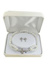 McVan Double Pearl Cross Stretch Bracelet with Crystal Cross Earrings
