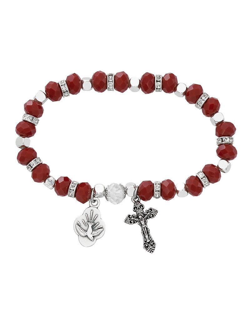 McVan Red Matt Crystal Holy Spirit Bracelet