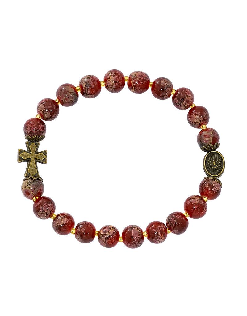 McVan Red Marbeline Holy Spirit Stretch Bracelet