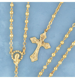 Devon Trading Company Metal Bead Rosary Gold