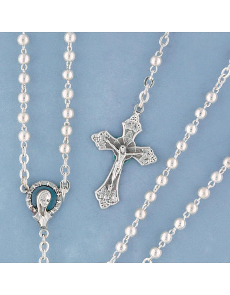 Devon Trading Company Metal Bead Rosary Silver