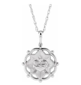 "Stuller Sterling Silver Sacred Heart 18"" Necklace"