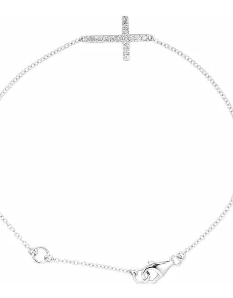 """Stuller Sterling Silver Cubic Zirconia Sideways Cross 8"""" Bracelet"""