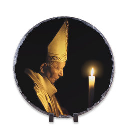 Nelson Fine Art Pope John Paul II with Paschal Candle Round Slate Tile