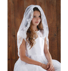 """Sacred Traditions First Communion 45"""" Lace Mantilla Veil"""