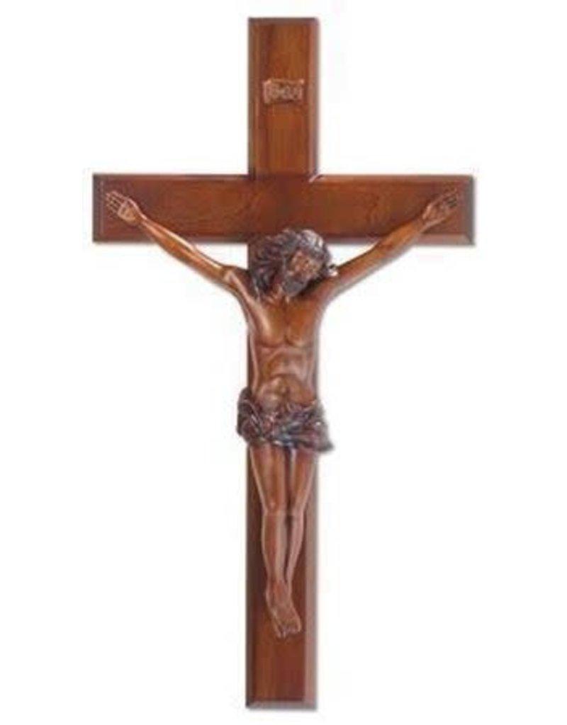 "HJ Sherman 24"" Mahogany Resin Crucifix"