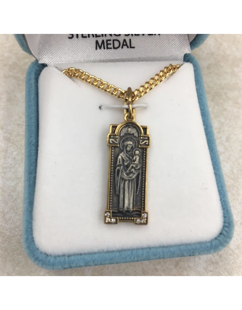 """HMH Religious Sterling Silver Mother of God w/Gold Plated Edge 18"""" Chain"""