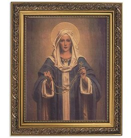 WJ Hirten Chambers: Our Lady of the Rosary Print in Ornate Gold Finish