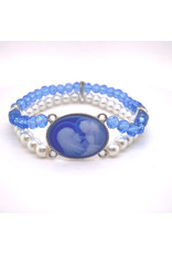 McVan Blue and Pearl Stretch Cameo