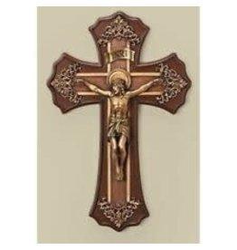 "Roman, Inc 10.25"" Victorian Style Oak and Antique Gold Finish Crucifix Wall Cross"