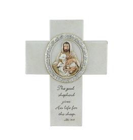 "Roman, Inc 8"" Joseph's Studio Biblical Verse with Jesus and the Lamb Religious Wall Cross Decoration"