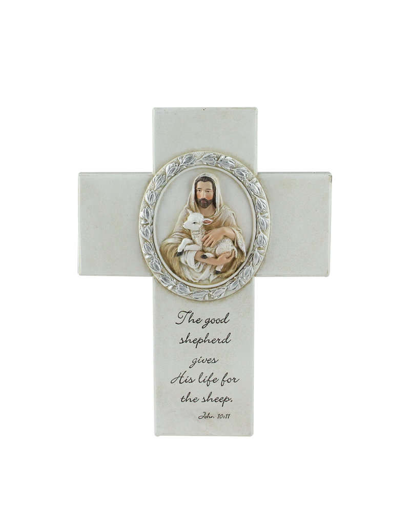"Roman, Inc 8"" Joseph's Studio Biblical Verse with Jesus and the Lamb Religious Wall Cross Decoration"