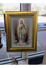"""Our Lady of Lourdes Gold Frame Art 5""""x7"""""""