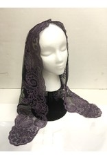 St. Stephen's Spanish Mantilla Veil Lilac and Black