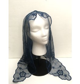 St. Stephen's Spanish Mantilla Veil Daisy Navy Blue