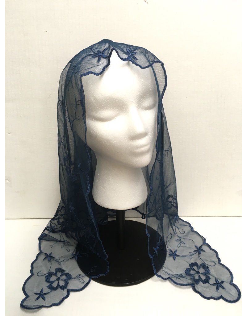 St. Stephen's Spanish Mantilla Veil Daisy Navy Blue