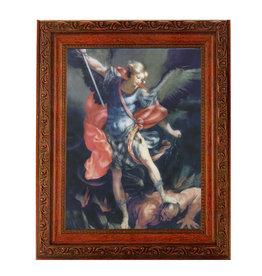 "WJ Hirten St. Michael 8"" x 10"" Picture in Mahogany Frame"