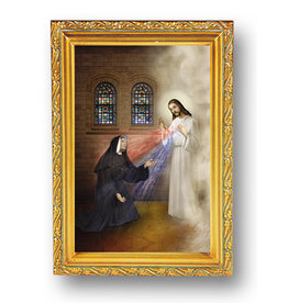 WJ Hirten St Faustina and the Divine Mercy Picture in Gold Frame Glass