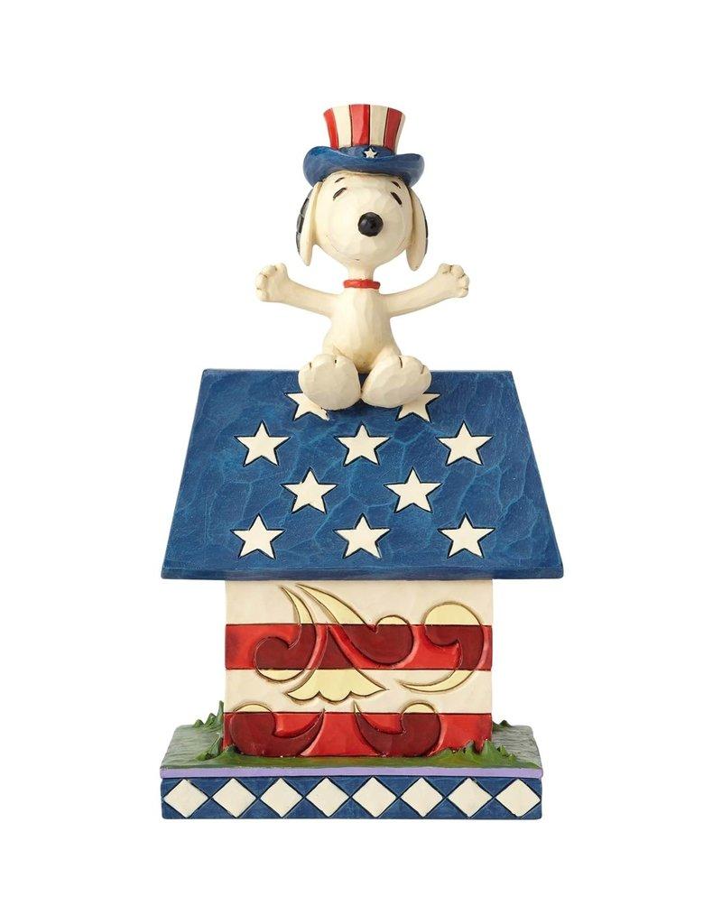 Jim Shore Peanuts Jim Shore Snoopy Patriotic Dog House Figurine