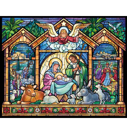 Vermont Christmas Company Jigsaw Puzzle-Stained Glass Nativity (1000 Pieces)