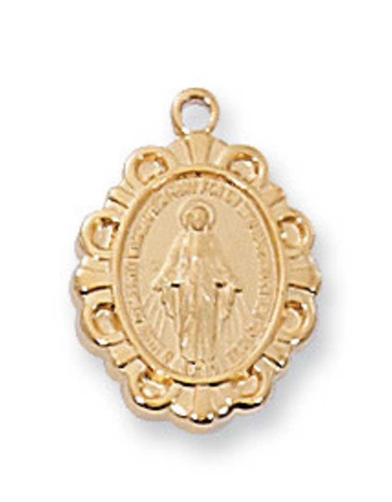 Gold over Sterling Miraculous Pendant - Gold Over Sterling Silver Miraculous with 16 in. Gold Plated Brass Chain and Deluxe Gift Box