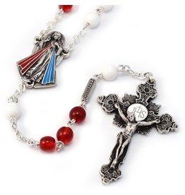 Ghirelli Merciful Jesus Divine Mercy Crimson & White Rosary
