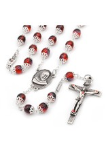 Ghirelli Saint Pio of Pietrelcina Anniversary Rosary in Antique Silver with Red Bohemian Glass Beads