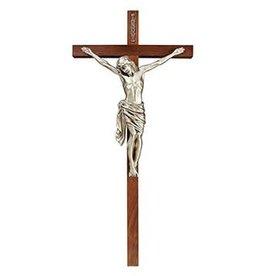 "James Brennan 34"" Walnut Antique Silver Finish Crucifix"