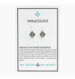My Saint My Hero Miraculous Mary Earrings-Silver