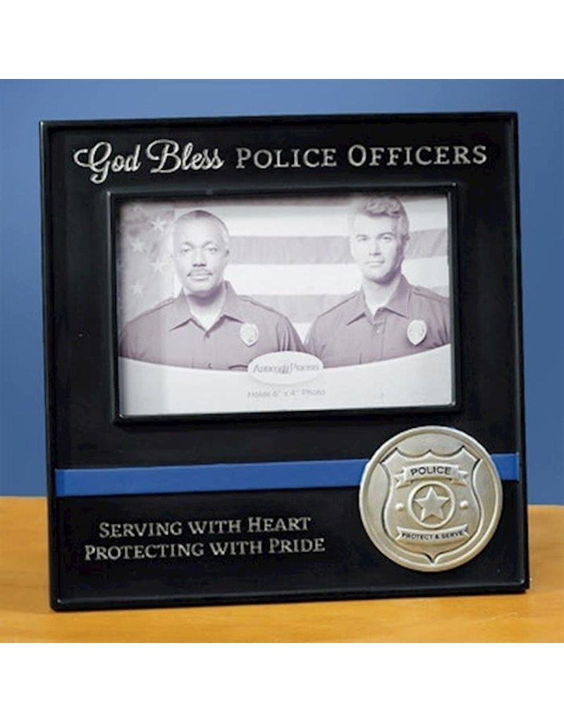 God Bless Police Officers Black Photo Frame