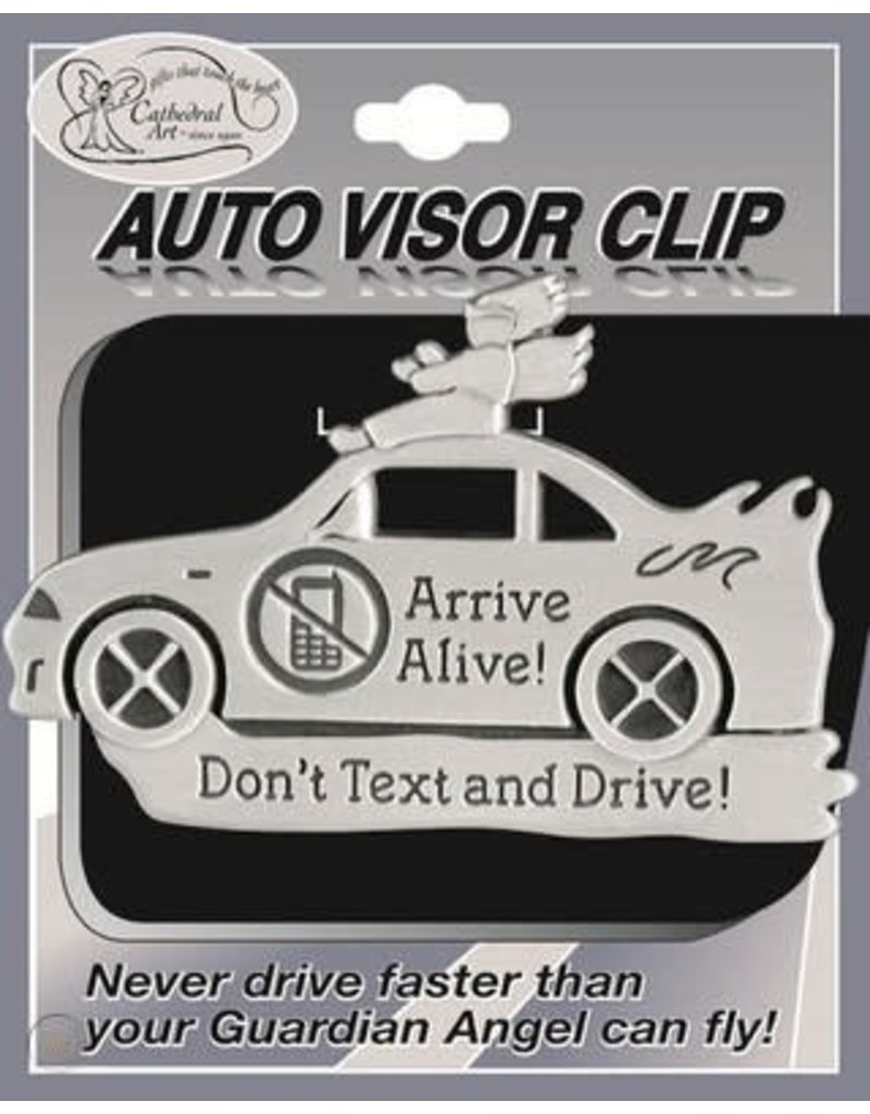 """Cathedral Art """"Arrive Alive, Don't Text & Drive"""" Angel riding Car Visor Clip"""