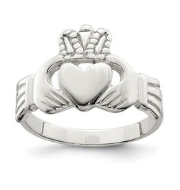 Sterling Silver Solid Claddagh Ring (Size 8)
