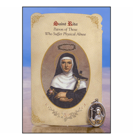 Milagros Paper Card with Medal: Saint Rita