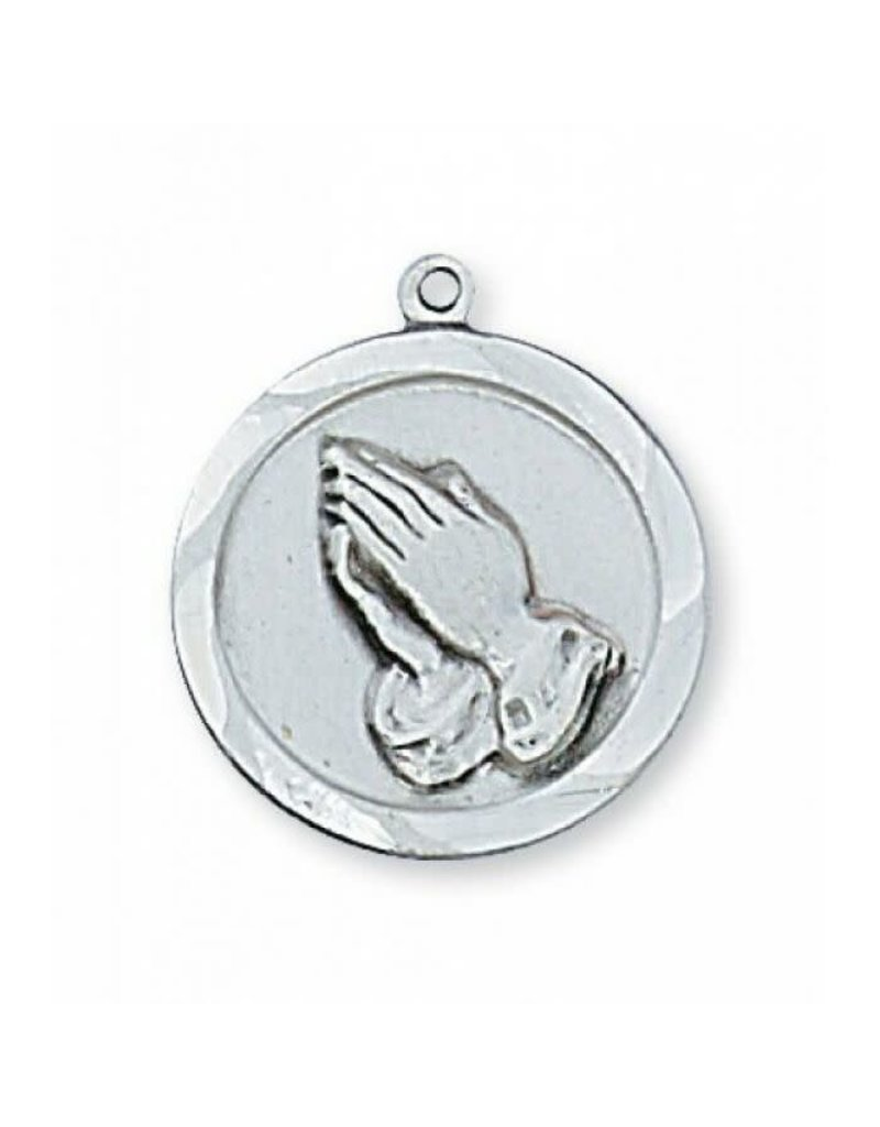 Sterling Silver Praying Hands with 18 in. Rhodium Plated Brass Chain