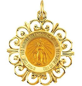 Stuller 14K Yellow 18 mm Polished Round Miraculous Medal