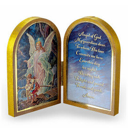 "WJ Hirten 5"" x 3.5"" Guardian Angel Wooden Diptych"