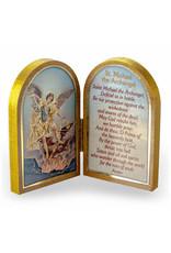 """WJ Hirten 5"""" x 3.5"""" Saint Michael Wooden Diptych"""