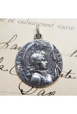 Rosa Mystica St. Joan Of Arc Battle Flag Medal – Patron Of Strong Women – Sterling Silver Antique Replica