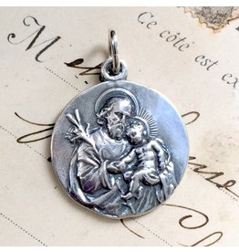 Rosa Mystica St Joseph Medal – Patron Of Fathers, Immigrants and Workers – Sterling Silver Antique Replica